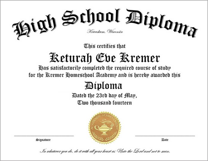 High School Diploma Template Printable Certificate Templates – School Certificate Format
