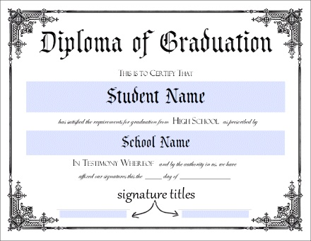 High School Diploma Template Printable Certificate Templates – School Certificate Template