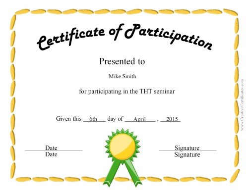 Free certificate of participation templates for download for Certification of participation free template