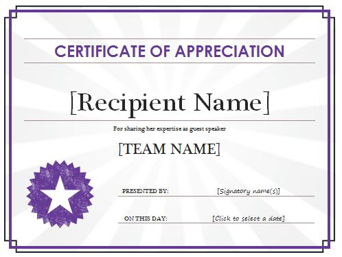 Certificate Of Appreciation Templates And Letters  The Best Home