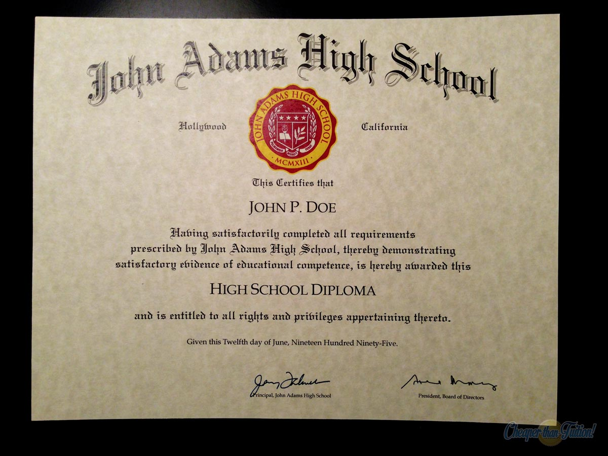 Official Name For High School Diploma Zrom