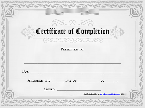 20 free certificate of completion template word excel pdf for Certificate of accomplishment template free