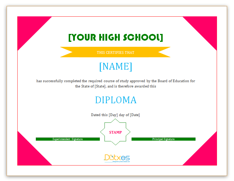 30 free high school diploma template printable certificates school diploma certificate yadclub Gallery