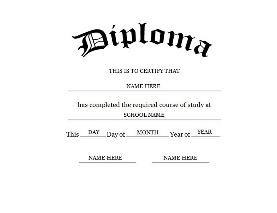 Blank high school diploma template free printables for Diplomas and certificates templates