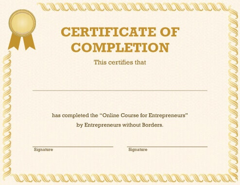 20 free certificate of completion template word excel pdf yadclub Choice Image