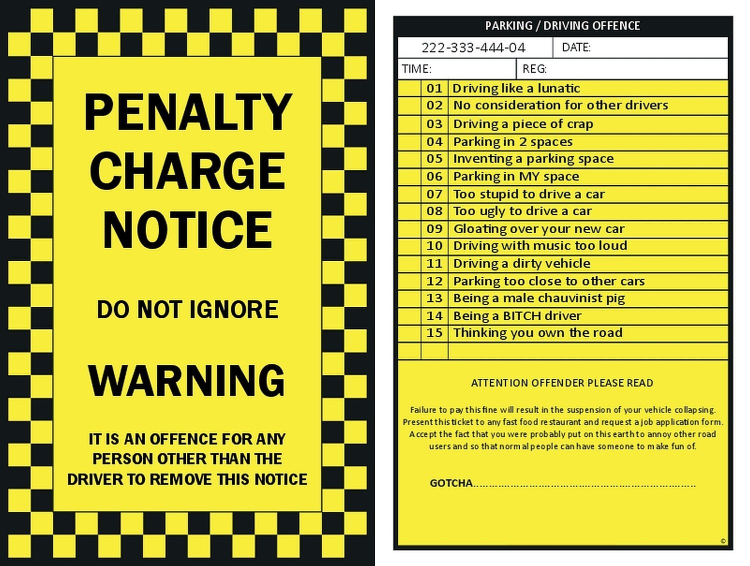 fake parking ticket printable - free download